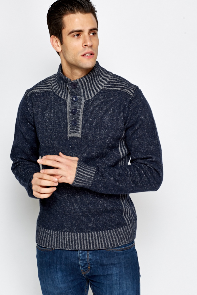 Contrast High Neck Knit Jumper