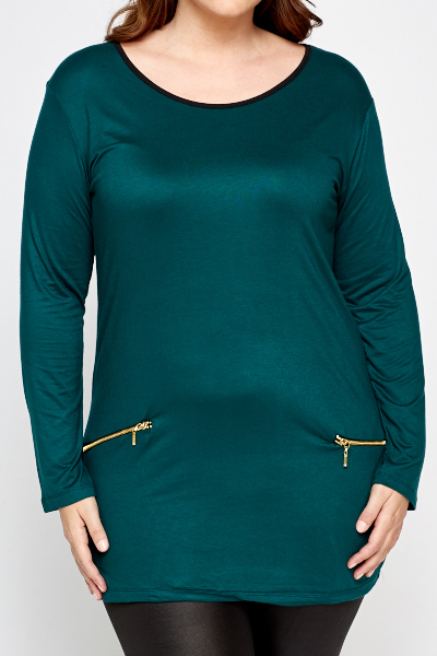 Green Zip Front Tunic