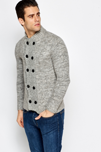 Grey Multi Thick Cardigan