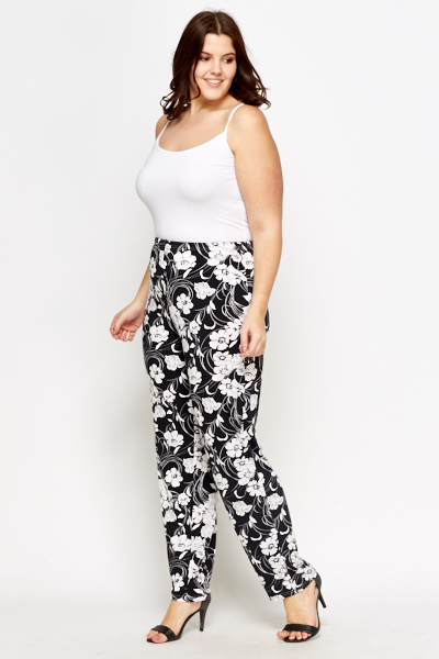 Mono Floral Tapered Trousers