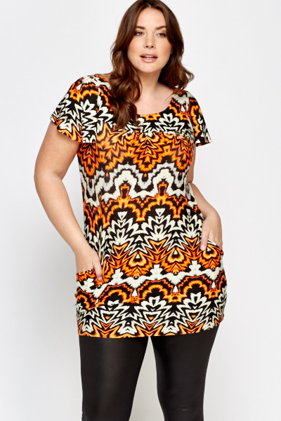 Orange Multi Print Top