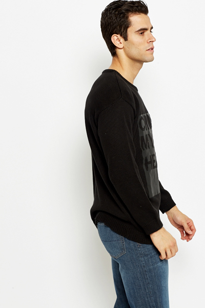 Ribbed Neck Loose Knit Sweater