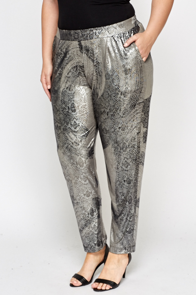 Silver Mock Crock Tapered Trousers