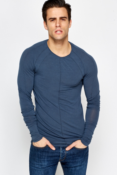 Slim Fit Middle Blue Top