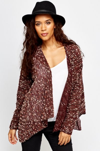 Burgundy Multi Waterfall Cardigan - Just £5