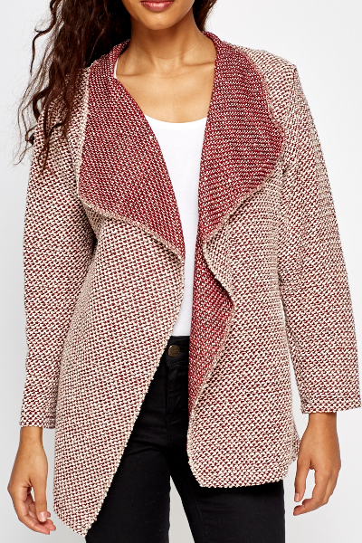 Burgundy Open Waterfall Cardigan