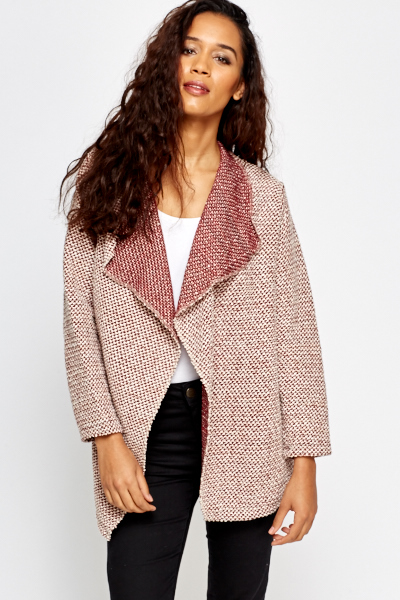 Burgundy Open Waterfall Cardigan - Just £5