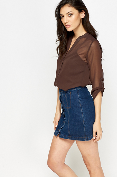 Chocolate Sheer Button Up Blouse