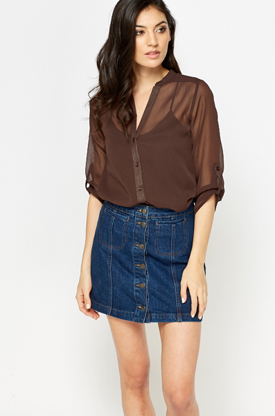 a3adc80dd Chocolate Sheer Button Up Blouse - Just £5