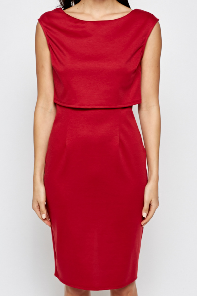 Maroon Overlay Midi Dress