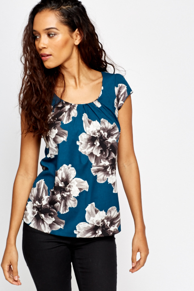 Pleated Neck Floral Blouse