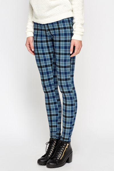 Blue Multi Checked Leggings
