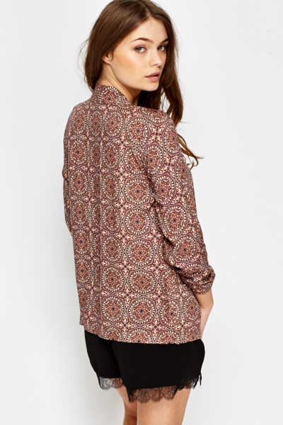 Brown Ornate Open Blazer