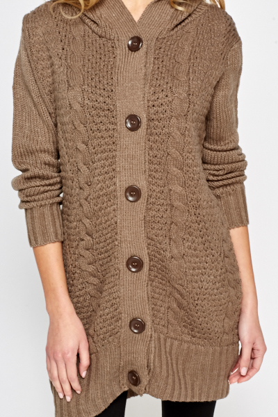 Cable Knit Light Brown Cardigan - Cable Knit Light Brown Cardigan - Just £5