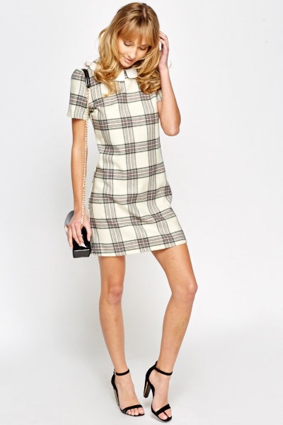 Contrast Collar Cotton Dress