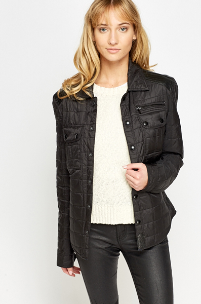 Contrast Faux Leather Jacket