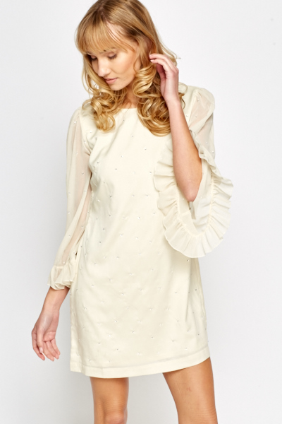 Flare Sleeve Cream Shift Dress