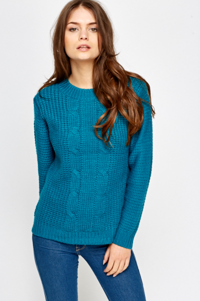 Plait Detail Front Knit Jumper
