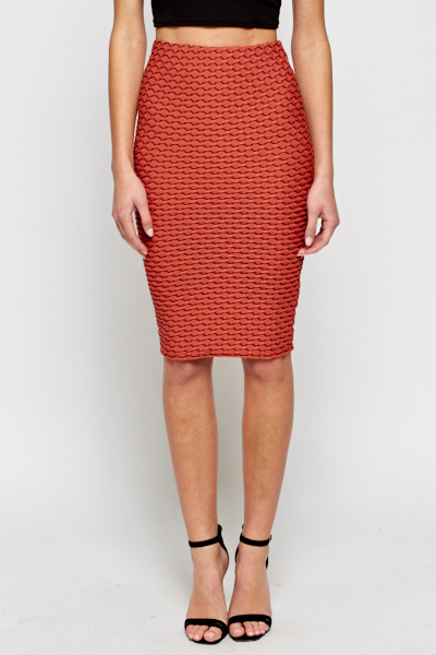 Salmon Textured High Waist Skirt