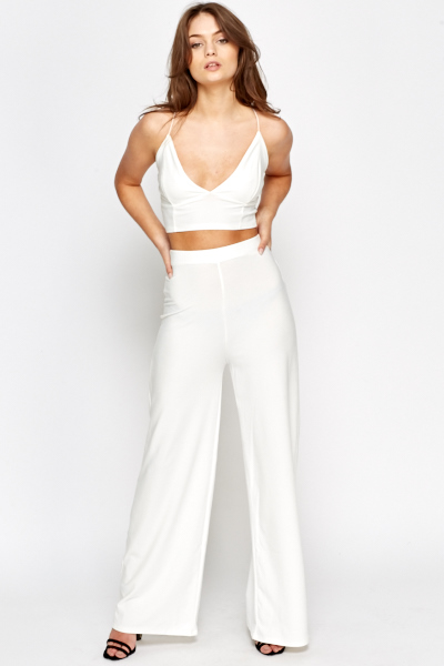Wide Leg Trousers And Bralet Set