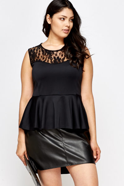 Black Lace Yoke Peplum Top