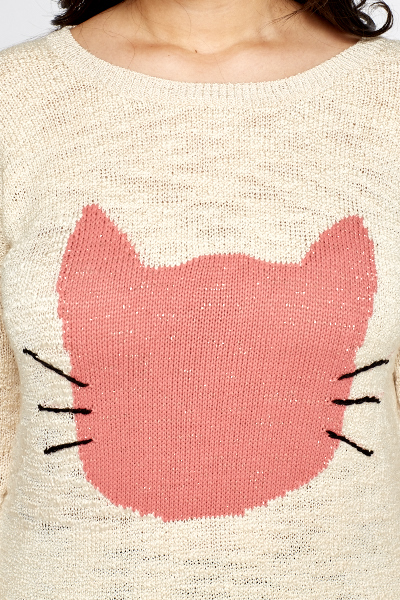 Cat Face Printed Jumper