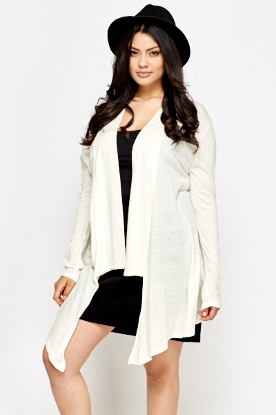 Cream Asymmetric Cardigan
