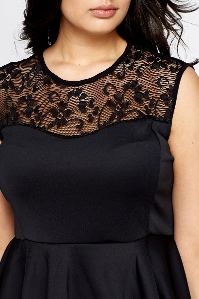 Lace Shoulder Contrast Peplum Top