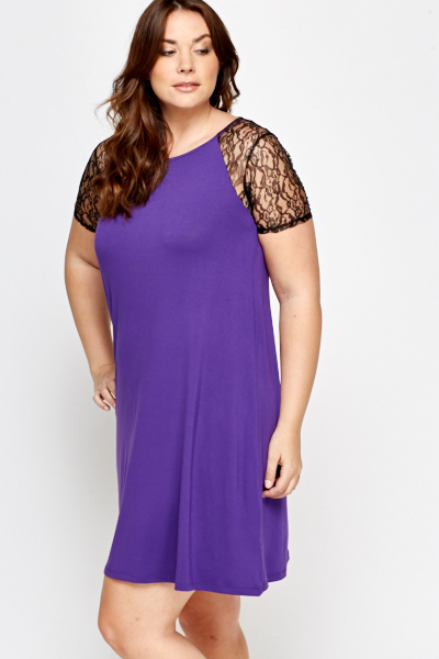 Lace Sleeve Violet Dress