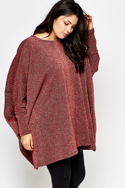 Metallic Striped Poncho