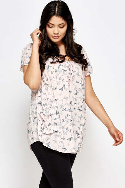 Pink Butterfly Print Top