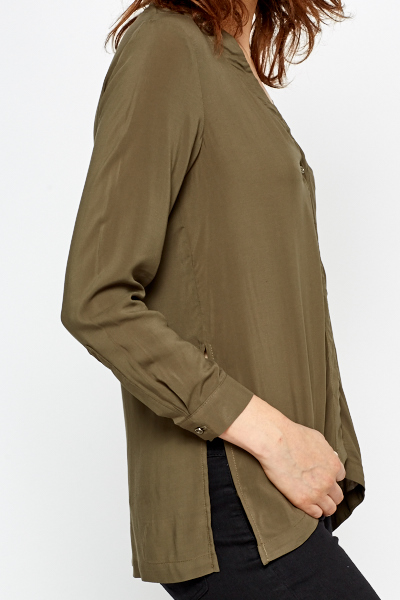 Button Up Long Olive Blouse