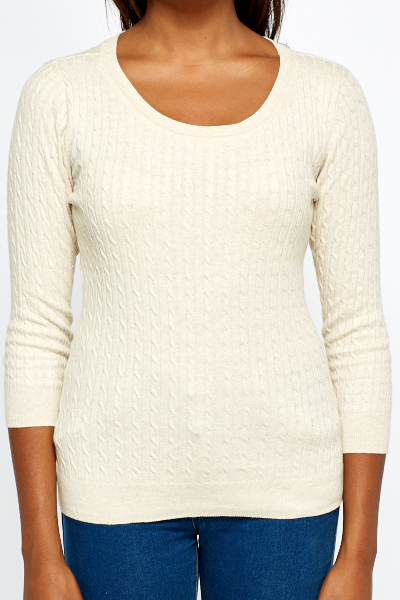 Contrast Front Fine Knit Sweater