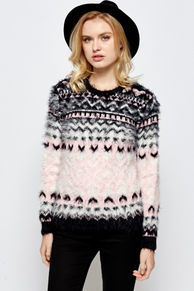 Eyelash Knit Printed Jumper