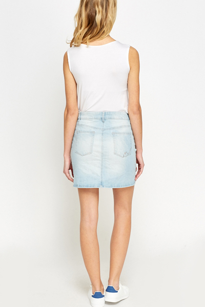 Mini Light Blue Denim Skirt