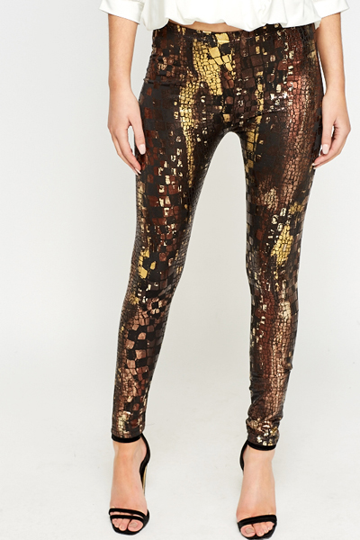 Mock Croc Metallic Leggings