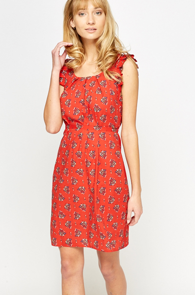 Red Ruffled Sleeve Floral Dress