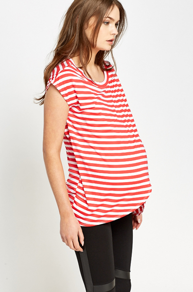 Red Striped Maternity Top