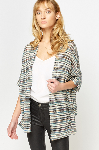Striped Teal Knit Cardigan