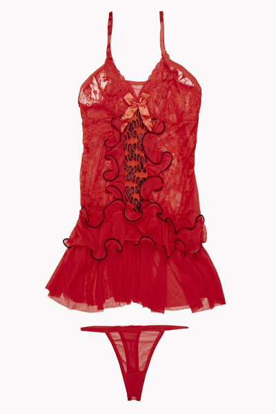 Babydoll Lace Chemise And Thong Set