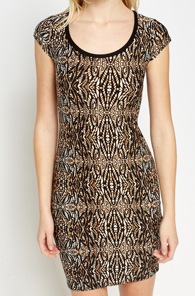 Black Printed Bodycon Dress
