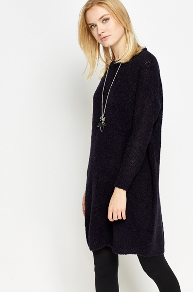 Loose Fit Navy Jumper Dress
