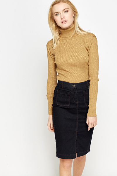 Metallic Turtle Neck Jumper