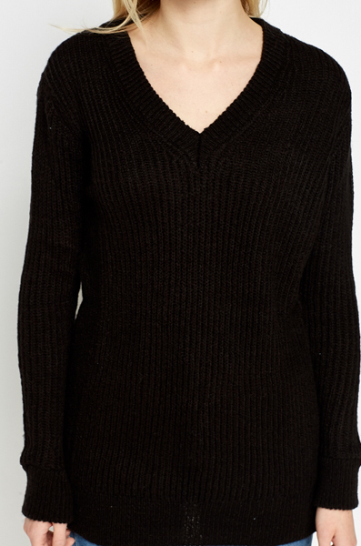 Ribbed V-Neck Long Jumper
