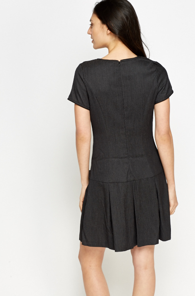 Charcoal Pleated Hem Dress