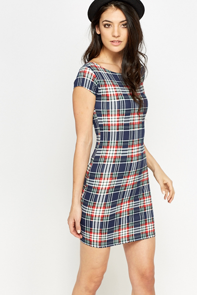 Navy Check Bodycon Dress