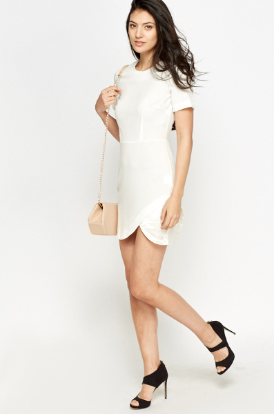 Off White Wrap Shift Dress