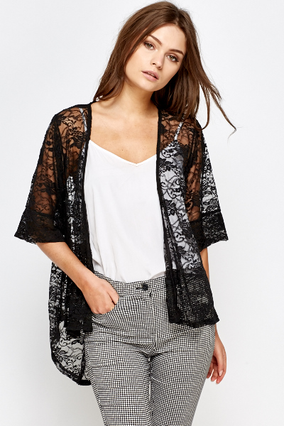 Black Lace Open Front Cardigan