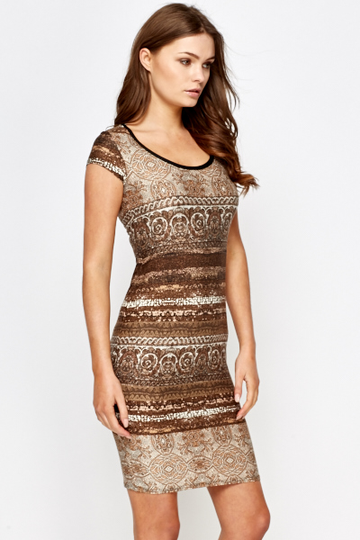 Brown Ornate Bodycon Dress