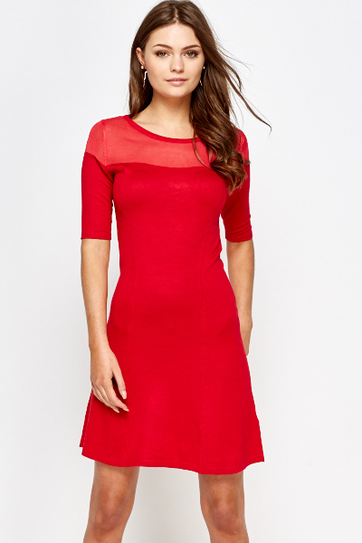 Red Contrast Top Shift Dress